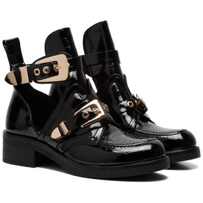 ComegetFashion CUT OUT BUCKLE BOOTS GOLD