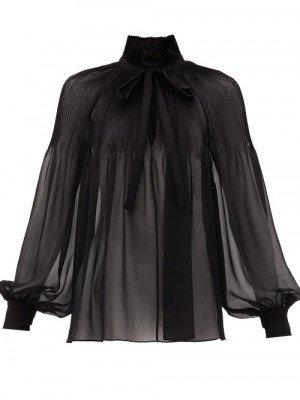 Matchesfashion Saint Laurent - Tie-neck Plissé Silk-georgette Blouse - Womens - Black