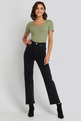 NA-KD NA-KD Rechte High Waist Jeans - Black