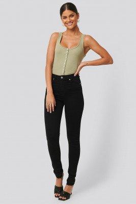 NA-KD NA-KD Skinny High Waist Open Hem Jeans Tall - Black