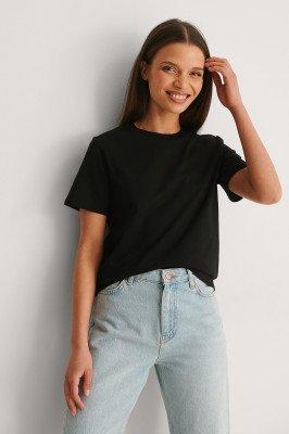 NA-KD Basic NA-KD Basic T-Shirt Van Biologisch Katoen Met Ronde Hals - Black