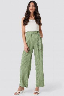 Trendyol Wos Binding Detailed Trousers - Green