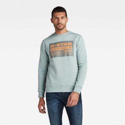 G-Star RAW Original Label R sweater - Lichtblauw - Heren