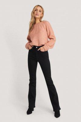 NA-KD NA-KD Skinny Bootcut Jeans - Black