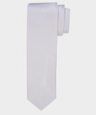 Michaelis Michaelis heren smalle zijden stropdas wit