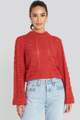 NA-KD Pattern Knitted Round Neck Sweater - Red