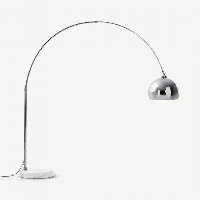 MADE.COM Bow grote staande lamp, chroom en wit marmer