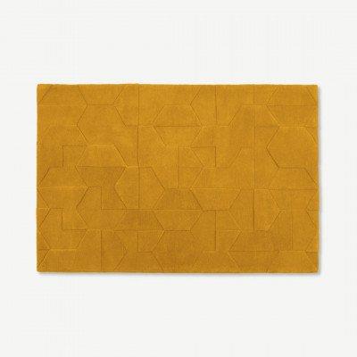MADE.COM Hayden wollen vloerkleed, 160 x 230 cm, mosterdgeel