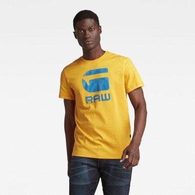 G-Star RAW Flock Hamburger Logo T-Shirt - Geel - Heren