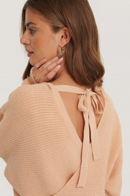 NA-KD Overlap Knitted Tie Detail Sweater - Pink