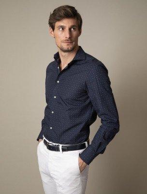 Cavallaro Napoli Cavallaro Napoli Heren Overhemd - Trangolo Overhemd - Donkerblauw