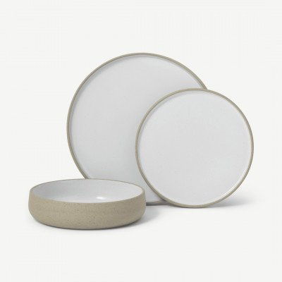 MADE.COM Juni 12-delig serviesset van natuurlijke klei, naturel en wit
