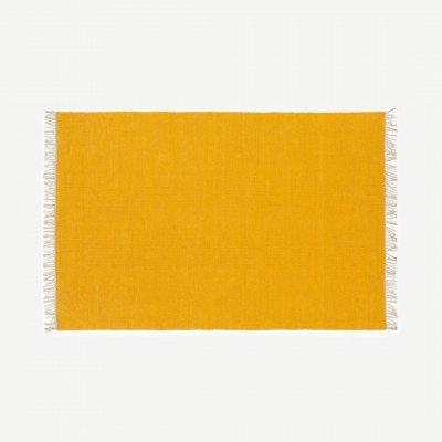 MADE.COM Seth omkeerbaar vloerkleed, 160 x 230 cm, mosterdgeel en grijs katoen