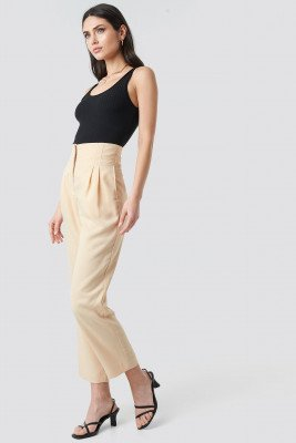 NA-KD Trend NA-KD Trend Pleat Detail High Waist Pants - Beige