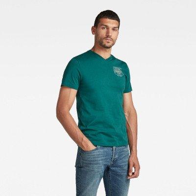 G-Star RAW T-Shirt Back Logo Slim - Groen - Heren