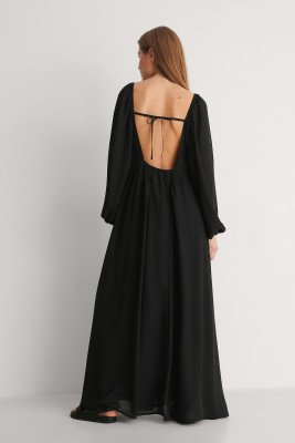 Curated Styles Curated Styles Maxi-Jurk Met Open Rug - Black