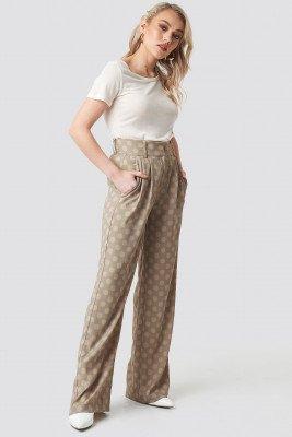 Kae Sutherland x NA-KD Kae Sutherland x NA-KD Spotted Wide Leg Trousers - Beige
