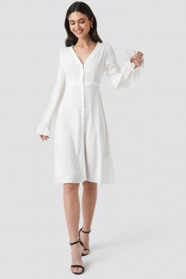 NA-KD Boho NA-KD Boho V-Neck Trumpet Dress - White