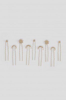 NA-KD Accessories NA-KD Accessories 9-Pack Moon and Star Hair Pins - Gold