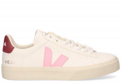 VEJA VEJA Campo Chromefree Leather Wit/Roze Damessneakers