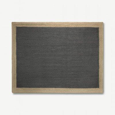 MADE.COM Granico vloerkleed van 100% jute met contrastranden, groot, 160 x 230 cm, houtskoolgrijs en lichtbeige