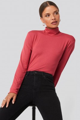 NA-KD Basic NA-KD Basic Viscose Long Sleeve Polo Top - Red