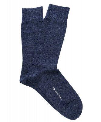 Profuomo Profuomo heren blauw uni katoen-wollen sokken