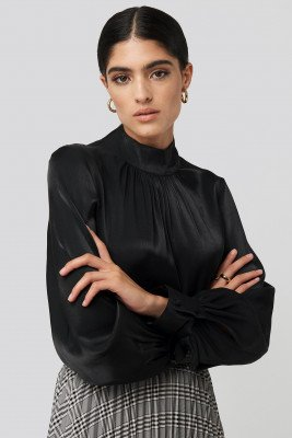 NA-KD Classic NA-KD Classic High Neck Loose Fit Blouse - Black