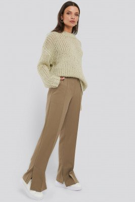 NA-KD Classic Creased Side Slit Pants - Beige