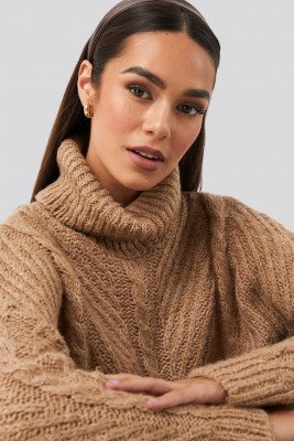 Trendyol Trendyol Turtleneck Long Knitted Sweater - Beige