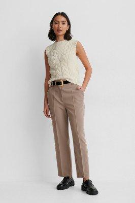 NA-KD Reborn NA-KD Reborn Cropped Pantalon Met Hoge Taille - Brown