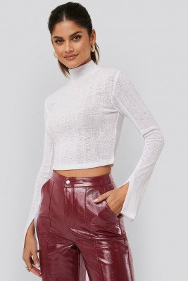 AFJ x NA-KD AFJ x NA-KD Ribbed Slit Sweater - White
