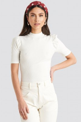 NA-KD Trend Short Puff Sleeve High Neck Ribbed Top - White