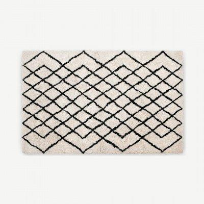 MADE.COM Fes extra groot getuft vloerkleed van 100% wol, 200 x 300 cm, gebroken wit