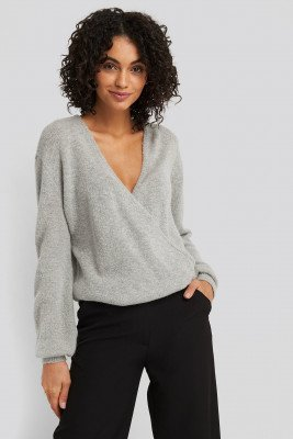 NA-KD NA-KD V-Neck Overlap Knitted Sweater - Grey