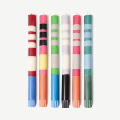 MADE.COM British Colour Standard set van 6 dikgestreepte tafelkaarsen