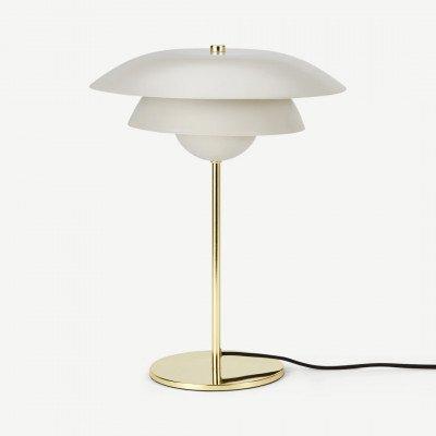 MADE.COM Brunswick tafellamp, warmgrijs en messing