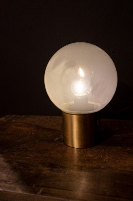 Firawonen.nl PTMD Bodin White glazen LED tafellamp bal