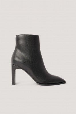 NA-KD Shoes NA-KD Shoes Laarsjes Met Vierkante Schuine Neus - Black