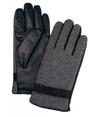 Profuomo Profuomo heren grijze gebreide en leren handschoenen