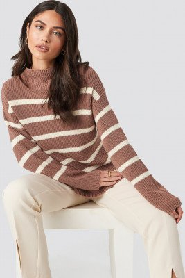 NA-KD NA-KD High Neck Striped Knitted Sweater - Pink