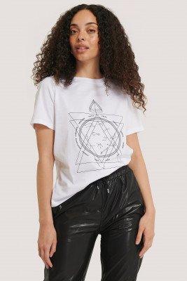 NA-KD Reborn T-Shirt Met Print - White