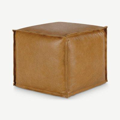 MADE.COM Kirby vierkante poef van 100% leer