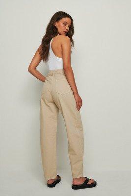 NA-KD Trend NA-KD Trend Gerecycleerd Cocongevormde Jeans - Beige