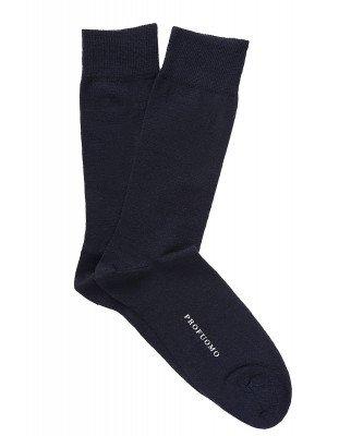 Profuomo Profuomo heren navy uni katoen-wollen sokken