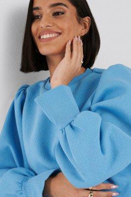 NA-KD NA-KD Sweatshirt Met Pofmouwen Met Gespleten Manchetten - Blue