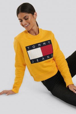 Tommy Jeans Tommy Flag Crew - Yellow