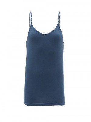 Matchesfashion Domi - Rickrack-trim Organic-cotton Jersey Cami Top - Womens - Navy