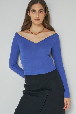 nu-in Off Shoulder Heart Neck Rib Top / L / Blue