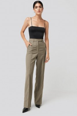 NA-KD Classic Creased Wide Leg Suit Pants - Beige